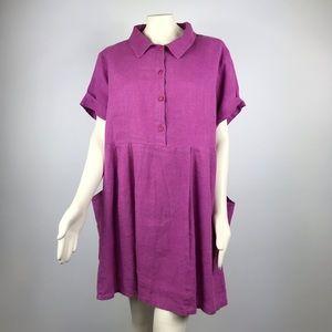 FLAX | Short Sleeve Collar Pocket Dress 100% Linen